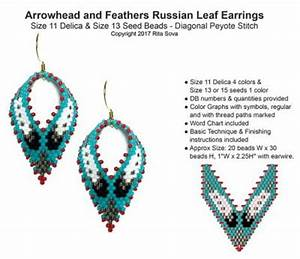 Miyuki Delica Beads Color Chart Arrowhead And Feathers Russian Leaf Earrings Bead Patterns