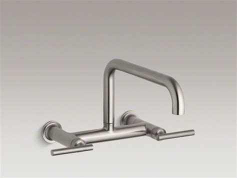 kohler purist r two hole wall mount bridge kitchen sink