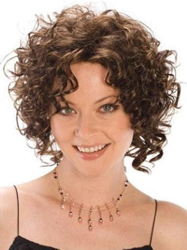 designed brown curly chin length synthetic wigs synthetic