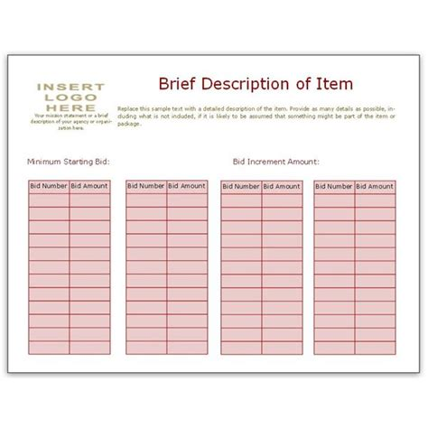 bid sheet template collection downloads  ms publisher