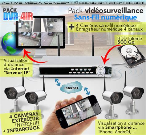 de surveillance sans fil exterieur avec enregistrement pack dvr 4ir kit vid 233 osurveillance sans fil num 233 rique 4 233 ras infrarouges avec enregistreur