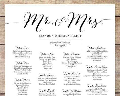 bridal shower seating chart template simple wedding seating chart wedding customizable seating chart black white