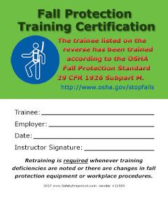 fall protection training certification cards