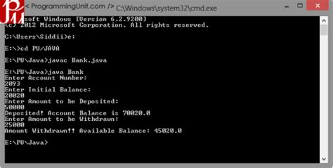 Java Program to Solve Simple Banking Problem - ProgrammingUnit