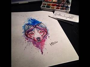 Speed Painting - Wolf Watercolor Tattoo Design - YouTube