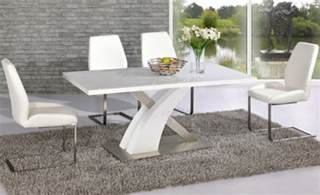 Modern Dining Room Sets With Bench by Avici Y Shaped High Gloss White And Chrome Dining Table 6