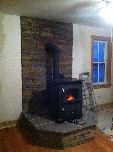 Raised Flagstone Hearth With Wood Stove House
