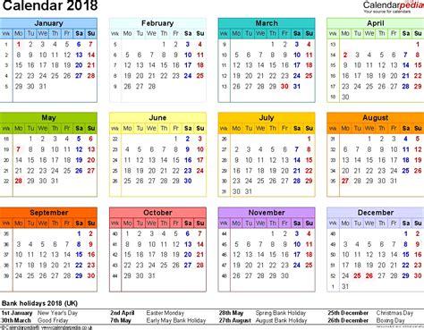 2018 Calendar Printable Excel