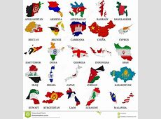 Asia Countries Flag Maps Part 1 Stock Photography