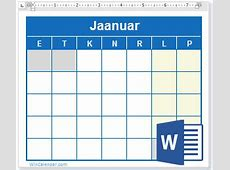 Vaba 2018 Kalender MS Word