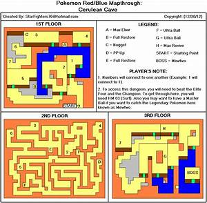 Pokemon Red Version Cerulean Cave Map For Game Boy By