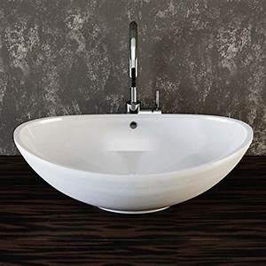 Waschbecken Oval Aufsatz : vilstein keramik waschbecken aufsatz waschbecken aufsatz waschschale waschtisch oval wei 60 cm ~ Orissabook.com Haus und Dekorationen