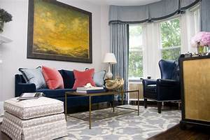 navy blue sofa Living Room Contemporary with abstract art