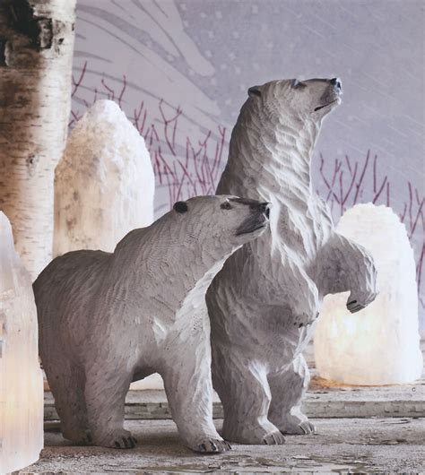 holiday home  decor showy snowy wooden polar bear