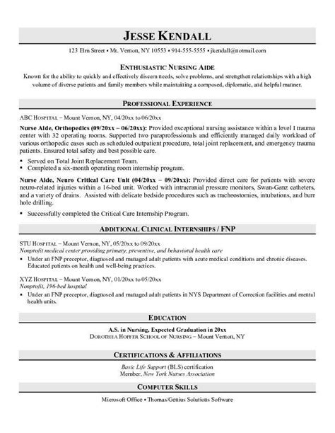 Exles Of Nursing Assistant Resumes by Resume Exles No Experience Related To Certified