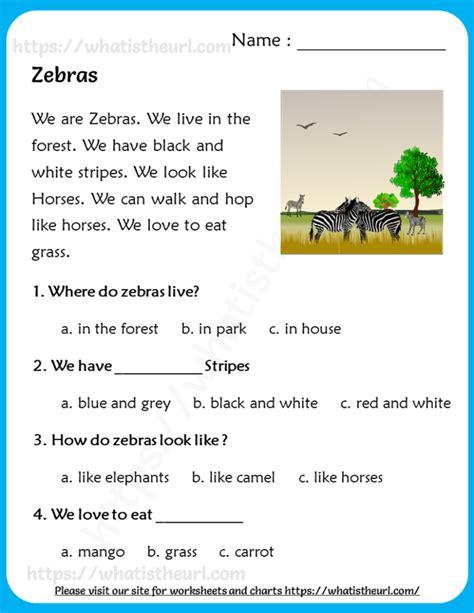 zebras reading comprehension  grade   home teacher