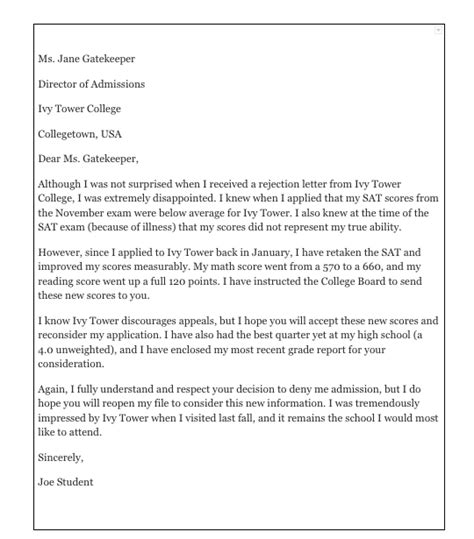 write  appeal letter  college top form
