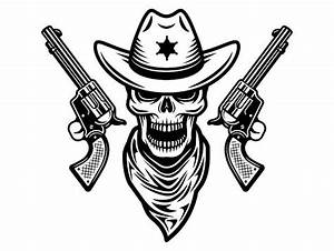 Cowboy Logo 20 Gun Skull Weapon Pistol Revolver Western Hat