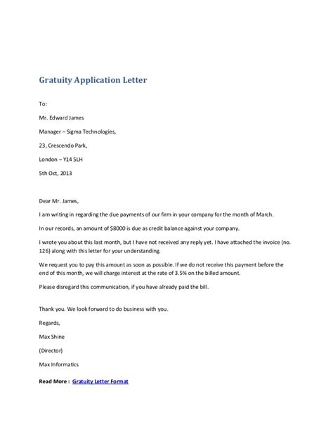gratuity application letter