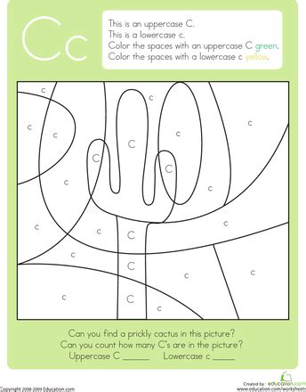 Color By Letter Capital And Lowercase C  Kids  Worksheets, Kindergarten, Lettering