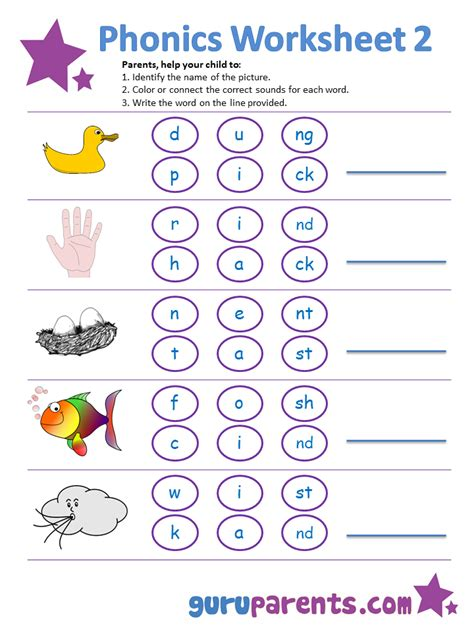 phonics worksheets kindergarten printables free