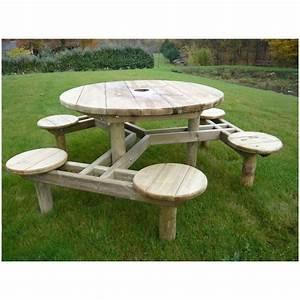 Table Bois Pique Nique : table de pique nique ronde forest table de pique nique en pin autoclave ~ Melissatoandfro.com Idées de Décoration