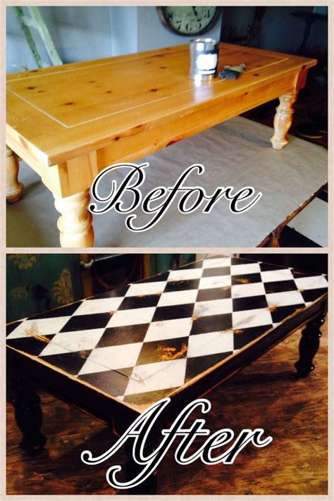 coffee table harlequin design black  white painted