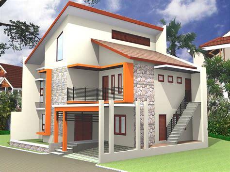 desain model rumah tingkat  cat eksterior warna