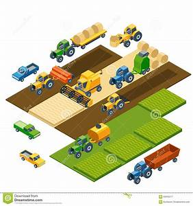 Isometric Agricultural Equipment  Farm Tractors Stock