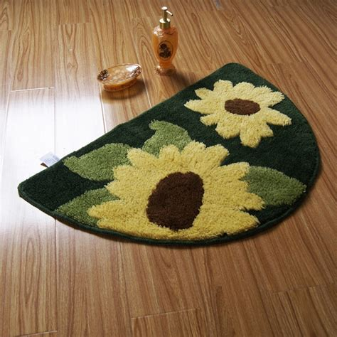 Semi circle Yellow Sunflower Non slip Rug Bath Mat