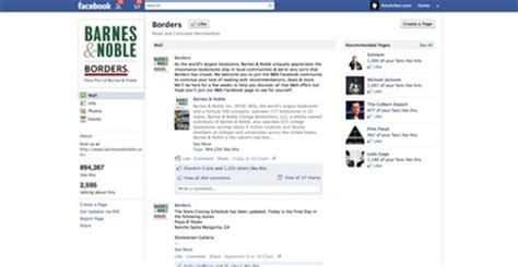 barnes and noble account barnes noble takes of borders social media pages