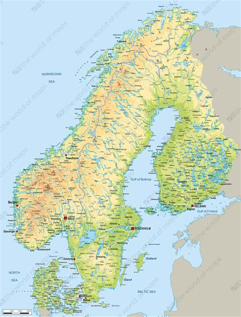 digital map scandinavia physical   world  mapscom