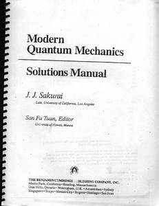 Solution Manual Of Modern Quantum Mechanics