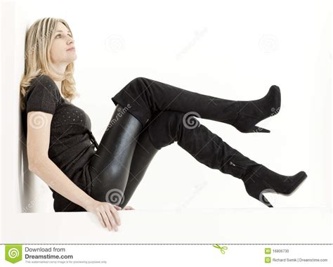 Woman With Black Boots Stock Photo Image Of Long, Female