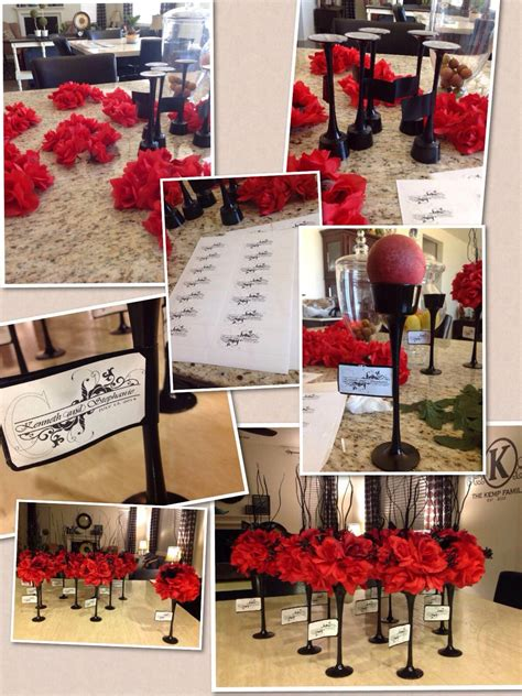 diy wedding centerpieces black red  tea light