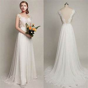 2017 simple long a line v back lace wedding dresses With wedding party dresses 2017