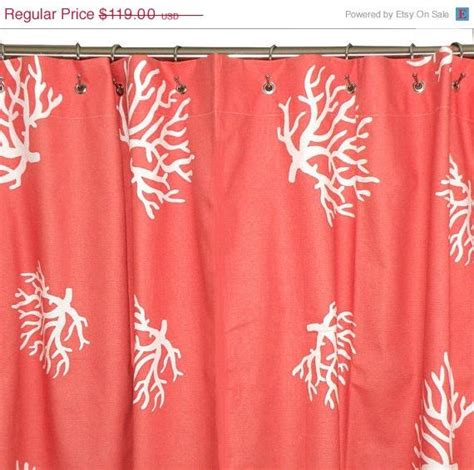 coral shower curtain chevron  coral  white coral