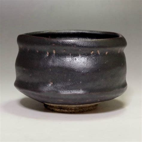 ORIBE KURO CHAWAN Vintage Japanese Black Tea Bowl w by ...