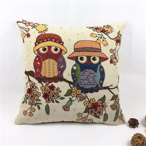 home decorative accessories owl printed decorative linen polyester cushion cover