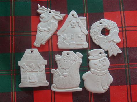 6 ready to paint ceramic christmas ornaments unpainted u paint