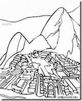 Picchu Machu Coloring Sketch Template Inca sketch template