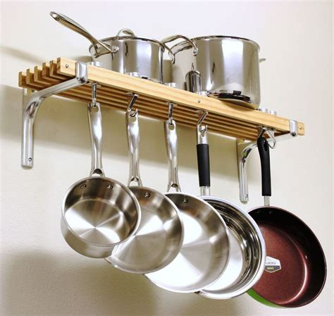 Small Pan Rack by Wooden Shelf Pots Pans Hanger Wall Mount Rack Cookware