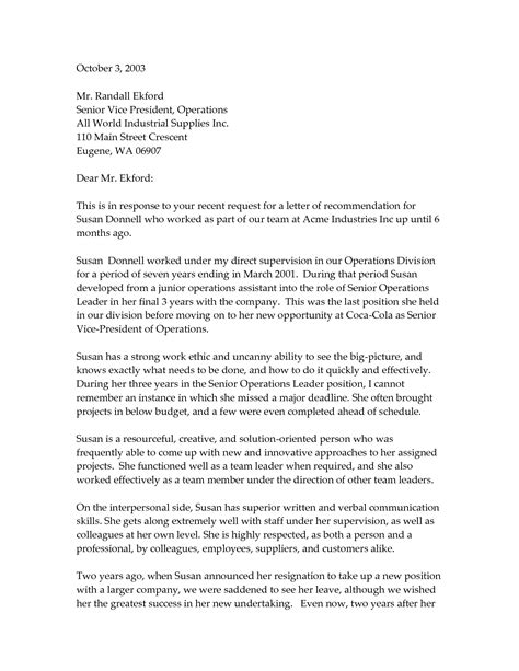 recommendation letter sle best template 28 images