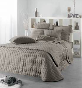 ROCKEVO Couvre Lit VENUS Taupe 2 Housses Coussin