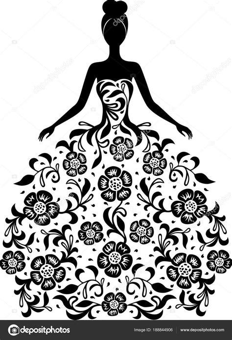 Imprime o bien pinta sin coste → fantásticas siluetas de monos para dibujar con los pequeños gratis. Menina de vestido e com a silhueta de ornamento floral ...