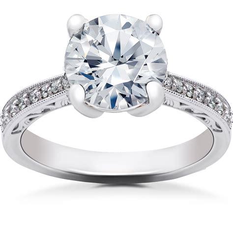 2 16 Ct Lab Grown Eco Friendly Diamond Vintage Engagement. Three Ring Bands. Gummy Bracelet. 14k Gold Bands. Split Engagement Rings