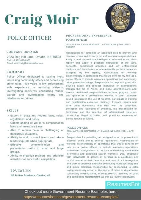 police officer resume samples templates pdfdoc