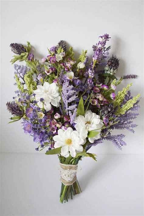 wildflower bouquet lavender purple bouquet rustic