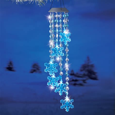 solar power lighted crystal snowflake wind chime outdoor