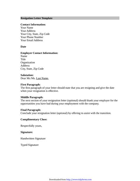Resignation Letter Email Example Database | Letter Template Collection